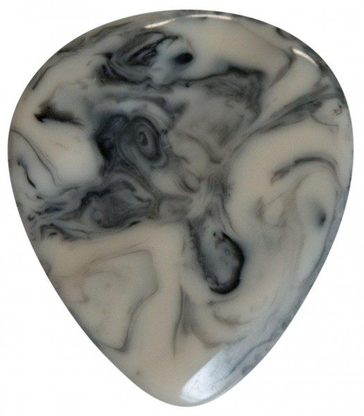Stanford-Guitar-Pick-Stoned-White-Black-Resin-Vorderseite